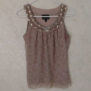 Cynthia Rowley sequin neck dressy tank top